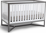 Delta Children Tribeca 4-in-1 Convertible Baby Crib, White/Gray