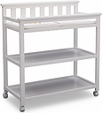 Delta Children Flat Top Changing Table with Wheels, White