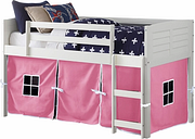 Kids Louvered Twin Low Loft Bed With Tent, Pink