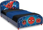 Delta Children Marvel Spider-man Upholstered Twin Bed Leather, Blue/Black/Red