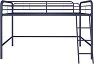 Kids Junior Twin Metal Loft Bed, Navy