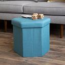 "Kids Devon 16"" Hexagonal Upholstered Collapsible Storage Ottoman, Blue"