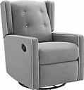 Baby Relax Mikayla Nursery Swivel Glider Recliner Chair, Gray