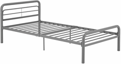 Metal Twin Bed, Silver