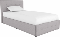 Rose Twin Upholstered Bed with Storage, Gray