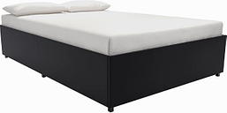 Maven Platform Full Bed with Storage Leather, Black