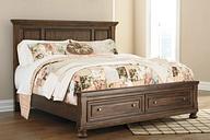 Flynnter King Panel Bed with 2 Storage Drawers, Medium Brown