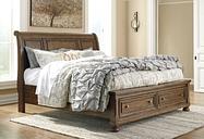 Flynnter Queen Sleigh Bed with 2 Storage Drawers, Medium Brown