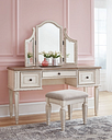 Realyn Vanity and Mirror with Stool, Two-tone