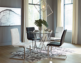 Madanere Dining Room Table, Chrome Finish