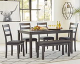 Bridson Dining Table and Chairs with Bench (Set of 6), Gray