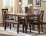 Bennox Dining Table and Chairs with Bench (Set of 6) Leather, Brown