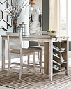 Skempton Counter Height Dining Table and 2 Barstools, White/Light Brown