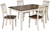 Whitesburg Dining Table and 4 Chairs, Brown/Cottage White