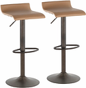 Ale Industrial Industrial Barstool (Set of 2) Leather, Yellow/Black