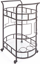 Rolling 2-Tier Serving Cart in Hammered Bronze Finish, Bronze Finish