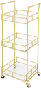 Rolling 3-Tier Square Bar Cart in Gold Finish, Gold Finish