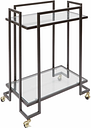 Rolling 2-Tier Rectangular Serving Cart in Gold Finish, Gold Finish