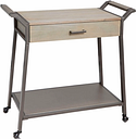 Rolling Kitchen Cart with Drawer in Graphite and Gunmetal Finish, Graphite