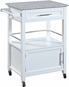 Mitchell Kitchen Cart with Granite Top, White