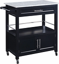 Cameron Kitchen Cart with Granite Top, Black