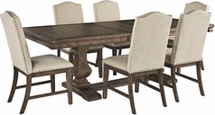Johnelle Dining Table and 6 Chairs, Gray