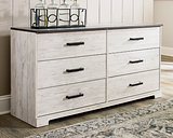 Shawburn Dresser, Whitewash/Charcoal Gray