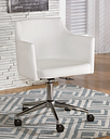 Baraga Home Office Desk Chair Leather, White