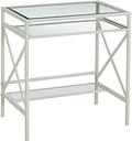 Pennie Metal/Glass Small-Space Desk, White