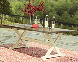 Preston Bay Dining Table with Umbrella Option, Antique White