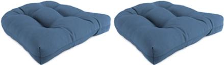 "Home Accents 18"" x 18"" Outdoor Sunbrella Wicker Chair Cushion (Set of 2), Sapphire"