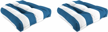 "Home Accents 18"" x 18"" Outdoor Sunbrella Wicker Chair Cushion (Set of 2), Cabana Stripe"