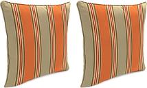"""Home Accents Outdoor Sunbrella 18"""" x 18"""" Toss Pillow (Set of 2), Poppy Stripe"""