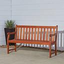 Vifah Malibu Outdoor 5ft Wood Garden Bench, Brown