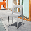 Siesta Outdoor Lucca Dining Chair Silver (Set of 2), Silver Gray