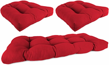 Home Accents Wicker Tufted Sunbrella® Cushion Set (Set of 3), Red