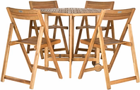 Halsted Table and 4 Chairs (Set of 5), Teak