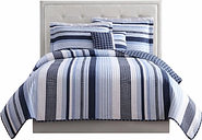 Striped Twin Quilt Set, Blue/White