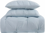 Pleated Twin XL Comforter Set, Light Blue