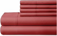6 Piece Luxury Ultra Soft California King Bed Sheet Set, Burgundy