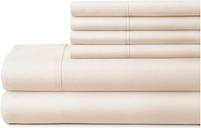 6 Piece Luxury Ultra Soft Full Bed Sheet Set, Ivory