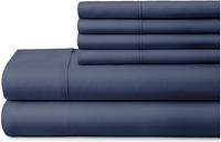 6 Piece Luxury Ultra Soft California King Bed Sheet Set, Navy