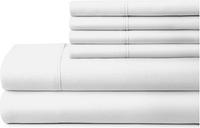 6 Piece Luxury Ultra Soft California King Bed Sheet Set, White
