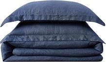 Linen Brooklyn Loom King Duvet Set, Navy Blue