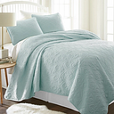 Damask Patterned 3-Piece King/California King Quilted Coverlet Set, Pale Blue