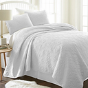 Damask Patterned 3-Piece King/California King Quilted Coverlet Set, White