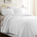 Herring Patterned 3-Piece Twin/Twin XL Quilted Coverlet Set, White