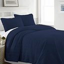 Square Patterned 3-Piece Full/Queen Quilted Coverlet Set, Navy