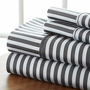 Striped 4-Piece Queen Sheet Set, Gray