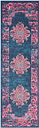 "Accessory Passion Blue 1'10"" x 6'Runner, Teal/Fuchsia"